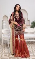 Embroidered Neckline patch Front Embroidered Velvet Back Plain Velvet Sleeves Embroidered Velvet Embroidered patch for sleeves Ready to wear Embroidered lace Gold Zari Duppatta Embroidered tissue patch for front and back Jamawar Trouser