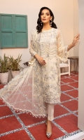 Embroidered Organza Neckline Front Embroidered Chiffon Back Embroidered Chiffon Embroidered Chiffon Sleeves Front and Back Embroidered Organza Border Embroidered Organza Patch for Sleeves Embroidered Chiffon Dupatta Embroidered Chiffon Extension for shirt (Side Kali for large sizes) Raw Silk Trouser