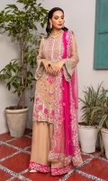 Embroidered Neckline Organza Front Embroidered Chiffon Back Embroidered Chiffon Embroidered Chiffon Sleeves Embroidered Organza patch for front Front and Back Embroidered Silk Border Extra Embroidered Organza Lace Embroidered Net Dupatta Organza Embroidered Lace for Dupatta Embroidered Chiffon Extension for shirt (Side Kali for large sizes) Raw Silk Trouser