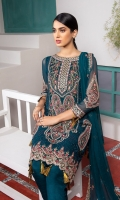 Front Embroidered Chiffon Back Embroidered Chiffon Embroidered Chiffon Sleeves Front and Back Embroidered Organza Border Embroidered Chiffon Dupatta Organza Embroidered Lace for Dupatta Extra Embroidered motifs Embroidered Chiffon Extension for shirt (Side Kali for large sizes) Raw Silk Trouser