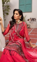 Embellished Neckline Embroidered Neckline Organza patch Front Embroidered Chiffon Back Embroidered Chiffon Embroidered Chiffon Sleeves Extra Embroidered Organza lace patch Front and Back Embroidered Silk Border Chiffon Dupatta Embroidered Embroidered Chiffon Extension for shirt (Side Kali for large sizes) Raw Silk Trouser