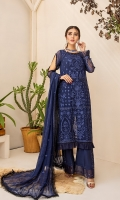 Embroidered Chiffon Front Embroidered Chiffon Back Embroidered Chiffon Sleeves Embroidered Chiffon Dupatta Raw Silk Trouser Extra Embroidered Panel Embroidered Organza patch for trouser