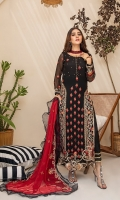 Embroidered Chiffon Front Embroidered Chiffon Back Embroidered Chiffon Sleeves Embroidered Chiffon Dupatta Raw Silk Trouser Extra Embroidered Panel Extra Embroidered Organza patch