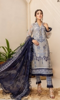 Embroidered Organza Front Embroidered Organza Back Embroidered Organza Sleeves Embroidered Chiffon Dupatta Extra Embroidered Panel Raw Silk Trouser Embroidered Neckline Patch Embroidered Organza patch for front and back Embroidered Organza patch for Trouser
