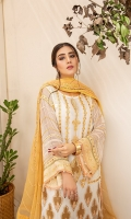 Embroidered Chiffon Front Embroidered Chiffon Back Embroidered Chiffon Sleeves Embroidered Chiffon Dupatta Jamawar Trouser Embroidered Organza patch for front and back Embroidered Organza patch for Sleeves