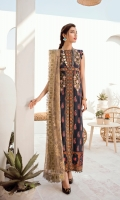 Embroidered Net Dupatta 2.5 Yards Embroidered Organza Patti Embroidered Organza Front Patches Digital Front 1.3 Yards Digital Back 1.3 Yards Digital Sleeves 0.5 Yard Dyed Trouser 2.5 Yards