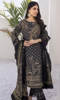 """Embroidered Cotton Jacquard Front Cotton Jacquard Sleeves Cotton Jacquard Back Cotton Jacquard Dupatta 2.5 Yards Dyed Cotton Bottom Fabric 2.5 Meters 2 Embroidered Sleeve Laces 2 Embroidered Trouser Laces Shirt Length 42""""+ Shirt Width 40""""+"""