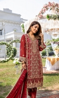 "Embroidered Chiffon Front: 1 Yard (Shirt Length with Border 43""+) Embroidered Chiffon Sleeves: 0.62 Yards Dyed Chiffon Back: 1.25 Yards Embroidered Chiffon Dupatta: 2.5 Yards 2 Embroidered Organza Trouser Borders (22""x2) Dyed Rawsilk Bottom Fabric: 2.5 Yards Inner Fabric Included"