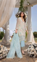 """Sequins Embroidered Chiffon Front 1 Yard Embroidered Chiffon Back 1 Yard Sequins Embroidered Chiffon Sleeves 0.6 Yards Sequins Embroidered Striped Organza Dupatta 2.5 Yards 2 Zari Embroidered Trouser Laces Dyed Raw Silk Bottom Fabric 2.5 Yards Shirt Length with Border: 42""""+ Shirt Width: 30"""""""