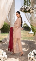 "Sequins Embroidered Net Front Upper Body 1 Pcs Embroidered Net Back Upper Body 1 Pcs Sequins Embroidered Net Front Lower Body 0.82 Yards Embroidered Net Back Lower Body 0.82 Yards Sequins Embroidered Net Sleeves 0.6 Yards Sequins Embroidered Chiffon Dupatta 2.5 Yards Dyed Jamawaar Bottom Fabric 2.5 Yards Shirt Length: 50""+"