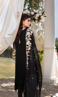 "Sequins Embroidered Chiffon Front 1.2 Yards Embroidered Chiffon Back 1.2 Yards Sequins Embroidered Chiffon Sleeves 0.6 Yards Sequins Embroidered Chiffon Dupatta 2.5 Yards 2 Embroidered Trouser Bunches Dyed Raw Silk Bottom Fabric 2.5 Yards Shirt Length: 42""+ Shirt Width: 40"""