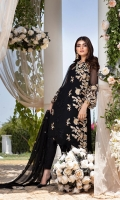 """Sequins Embroidered Chiffon Front 1.2 Yards Embroidered Chiffon Back 1.2 Yards Sequins Embroidered Chiffon Sleeves 0.6 Yards Sequins Embroidered Chiffon Dupatta 2.5 Yards 2 Embroidered Trouser Bunches Dyed Raw Silk Bottom Fabric 2.5 Yards Shirt Length: 42""""+ Shirt Width: 40"""""""