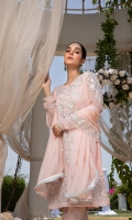 "Sequins Embroidered Chiffon Front 1 Yard Embroidered Chiffon Back 1 Yard Sequins Embroidered Chiffon Sleeves 0.7 Yards Sequins Embroidered Chiffon Dupatta 2.5 Yards Dyed Jamawaar Bottom Fabric 2.5 Yards Shirt Length with Border: 42""+ Shirt Width: 30"""