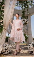 """Sequins Embroidered Chiffon Front 1 Yard Embroidered Chiffon Back 1 Yard Sequins Embroidered Chiffon Sleeves 0.7 Yards Sequins Embroidered Chiffon Dupatta 2.5 Yards Dyed Jamawaar Bottom Fabric 2.5 Yards Shirt Length with Border: 42""""+ Shirt Width: 30"""""""