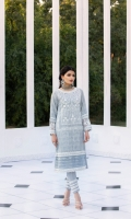Embroidered Cotton Net Jacquard Front 1 Yard   Lenght 44″ with border   Width 26″  Cotton Net Jacquard Sleeves0.6 yards (Width) Dyed Cotton Net Back1 Yard (Width) Embroidered Organza Daman Border0.82 Yards (Width) 2 Embroidered Organza Sleeve Borders  * Inner Fabric Included
