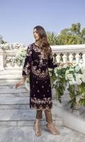 "Deep Burgundy Velvet Shirt with Jamawaar Trouser (2pcs) Embroidered Velvet Front: 1pcs Embroidered Velvet Sleeves: 0.72yards. Velvet Back: 1yard Jamawaar Trouser Fabric: 2.5yards Shirt Height: 40""+"