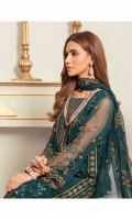 0.75 Yrd Embroidered Crinkle Chiffon Front 1.5 Yrd Embroidered Crinkle Chiffon Back and Side Panels 1 Yrd Embroidered Border for Front 1 Yrd Embroidered Border for Back 1 Yrd Embroidered Crinkle Chiffon Sleeves 2.75 Yrd Embroidered Crinkle Chiffon Dupatta 2.5 Yrd Dyed raw silk pants 2.5 Yrd Dyed cotton silk linning fabric
