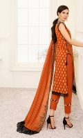 1.25M : Embroidered Lawn Front 1M : Embroidered Lawn Sleeves 1.25M : Gold Jacquard Lawn Back 2.5M : Embroidered Gold Jacquard Lawn Dupatta 2.5M : Dyed Cotton Trouser