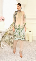 1.25M : Embroidered Lawn Front 1M : Embroidered Self Designed Lawn Sleeves 1.25M : Self Designed Lawn Back 2.5M : Digital Printed Crinkle Chiffon Dupatta 2.5M : Dyed Cotton Trouser