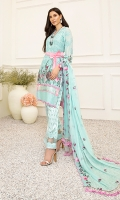 1M : Embroidered Lawn Front 1M : Embroidered Front Border 1M : Embroidered Lawn Sleeves 1.25M : Silver Jacquard Lawn Back 2.5M : Embroidered Crinkle Chiffon Dupatta 2.5M : Dyed Silver Jacquard Cotton Trouser