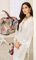 1.15M : Embroidered Self Designed Lawn Front 1M : Embroidered Front Border 1.25M : Self Designed Lawn Back 1M : Embroidered Self Designed Lawn Sleeves 2.5M : Digital printed Crinkle Chiffon Dupatta 2.5M : Dyed Cotton Trouser