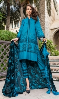 1.25m : Dyed Embroidered Front 0.75m : Dyed Embroidered Sleeves 1.25m : Dyed Embroidered Back 1 m : Embroidered Border for Back 2.5 m : Dyed Trouser 2.25 m : Dyed Embroidered Velvet Shawl