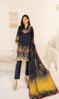 1.25m Dyed Embroidered Front 0.75m Dyed Embroidered Sleeves 1.25m Dyed Embroidered Back 2.5m Dyed Trouser 2.5m Printed Shawl