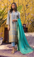 Printed Lawn Shirt, Contrast Printed Lawn Dupattas, Dyed Cambric Trouser.
