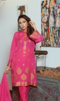 Pieces: 3  Kameez, Shalwar, Dupatta  Banarsi Cotton Kameez with Resham Motif work of different sizes.  Dupatta of Self and Resham Motif work on Anchal.  Plain Cotton Silk Shalwar.