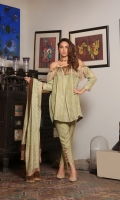 Pieces: 3  Kameez, Shalwar, Dupatta  Banarsi Cotton Kameez with Mena Resham work and Diamond booti Style all over it.  4 sided Border Dupatta of Self and Kichha work.  Plain Cotton Silk Shalwar.