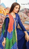 Shirt Front: Dyed Jacquard Shirt Back: Digital Printed Lawn Sleeves: Dyed Jacquard Dupatta: Banarsi Jacquard Trouser: Dyed Cotton Border: Digital Printed Sleeves  EMBROIDERY: Embroidered Gala with Handwork Embroidered Patti for Collar and Sleeves
