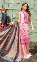 Shirt Front: Dyed Lawn Embroidered Shirt Back: Digital Printed Lawn Sleeves:Digital Printed Lawn Dupatta: Banarsi Jacquard Trouser: Dyed Cotton  EMBROIDERY: Full Front Embroidered Shirt Embroidered Border For Daman