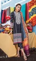 Shirt Front: Dyed Chikankari Lawn Shirt Back: Digital Printed Lawn Sleeves: Dyed Lawn Dupatta: Digital Printed Jacquard Organza Trouser: Dyed Cotton Border: Digital Printed For Daman and Sleeves  EMBROIDERY: Embroidered Chikankari for Front Embroidered Gala