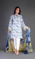 Shirt: Printed Lawn - 2.25 Meter Dupatta : Chiffon - 2.5 Meter Shalwar: Cambric - 2.5 Meter