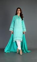 Shirt: Printed Lawn - 2.10 Meter Sleeves: Lawn - 0.65 Meter Dupatta: Printed Lawn - 2.50 Meter Shalwar: Cambric - 2.50 Meter