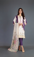 Shirt: Embroidered & Printed Lawn - 1.1 Meter Back/Sleeve: Embroidered & Printed Lawn - 1.75 Meter Dupatta: Printed Chiffon - 2.5 Meter Shalwar: Plain Cambric - 2.5 Meter