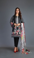Shirt: Digital Printed Lawn - 2.8 Meter Dupatta: Chiffon - 2.5 Meter Shalwar: Plain Cambric - 2.5 Meter