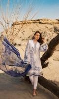 Shirt: Lawn - 1.1 Meter Back\Sleeve: Lawn - 1.7 Meter Dupatta: Chiffon - 2.5 Meter Shalwar: Cambric - 2.5 Meter
