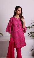 Shirt: Embroidered Lawn - 2.5 Meter Dupatta: Chiffon - 2.5 Meter Shalwar: Plain Cambric - 2.5 Meter