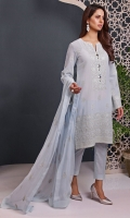 Shirt: Embroidered Swiss Lawn - 1 Meter Back: Embroidered Swiss Lawn - 1.5 Meter Slip: Lawn - 2.5 Meter Dupatta: Chiffon - 2.5 Meter Shalwar: Plain Cambric - 2.5 Meter