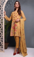 Shirt: Embroidered Swiss Lawn - 1 Meter Back: Embroidered Swiss Lawn - 1.5 Meter Dupatta: Chiffon - 2.5 Meter Shalwar: Plain Cambric - 2.5 Meter