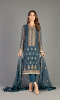Shirt: Embroidered Chiffon - 1 Meter Back: Embroidered Chiffon - 1.5 Meter Dupatta: Embroidered Chiffon - 2.5 Meter