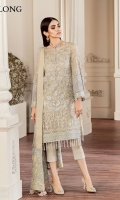Embroidered Front  Embroidered Sleeves Plain Back Embroidered Sleeves Patch Embroidered Front Patch Embroidered Back Patch Embroidered Dupatta Patch Embroidered Net Dupatta Trousers