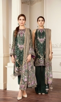 Embroidered Front  Embroidered Side Panel Embroidered Sleeves Plain Back Embroidered Sleeves Patch Embroidered Front Patch Embroidered Back Patch Embroidered Net Dupatta Trousers