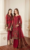 Embroidered Front  Embroidered Side Panel Embroidered Sleeves Plain Back Embroidered Sleeves Patch Embroidered Front Patch Embroidered Back Patch Embroidered Trouser Patch Embroidered Net Dupatta Trousers