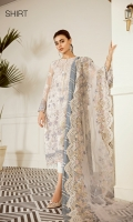 Embroidered Front (0.85 Yards) Plain Back (1 Yard) Embroidered Sleeves (0.72 Yards) Embroidered Sleeves Patch (1.10 Yards) Embroidered Front and Back Patch (2 Yards) Embroidered Net Dupatta (2.65 Yards) Dyed Silk Trousers (2.50 Yards)