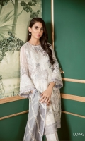 Embroidered Front Embroidered Side Panel Plain Back Embroidered Sleeves Embroidered Sleeves Patch Embroidered Front and Back Patch Embroidered Chiffon Dupatta Silk Trousers