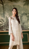 Embroidered Front Embroidered Side Panel Plain Back Embroidered Sleeves Embroidered Sleeves Patch Embroidered Front and Back Patch Embroidered Net Dupatta Jamawar Trousers