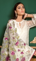 Embroidered Front Plain Back Embroidered Chiffon Sleeves Embroidered Sleeves Patch Embroidered Front and Back Patch Embroidered Organza Dupatta Silk Trousers