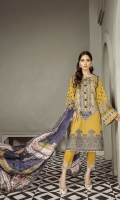 Embroidered Jacquard Lawn Front Embroidered Jacquard Lawn Sleeve Digital Printed Lawn Back Embroidered Sleeves Patch Embroidered Front Patch Embroidered Trousers Patch Dyed Cambric Lawn Trousers Digital Printed Silk Dupatta